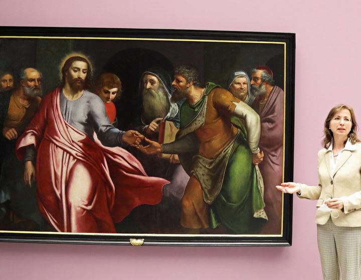 """Das Gemälde """"Der Zinsgroschen"""" von Otto van Veen hängt nach 9 Monate langer Restaurierung jetzt im Museum am Dom."""