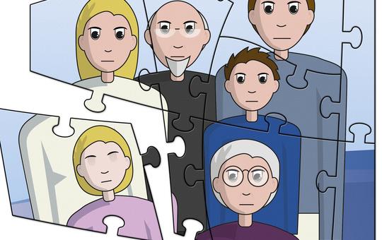 Ein Puzzle zeigt eine Familie. Das Puzzlestück mit dem Kind bricht heraus.