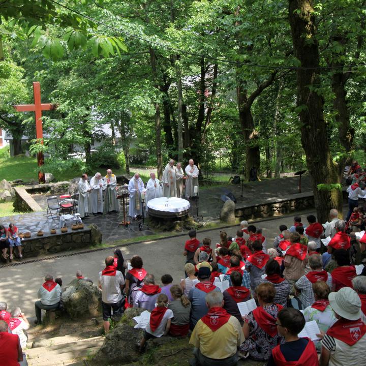 Bischof Hofmann feiert im französischen Wallfahrtsort Lourdes mit Gläubigen Gottesdienst