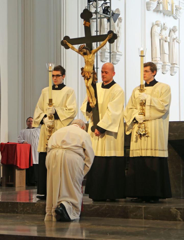 Kreuzverehrung zu Karfreitag im Würzburger Dom