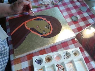 Ein Marienbild wird gemalt