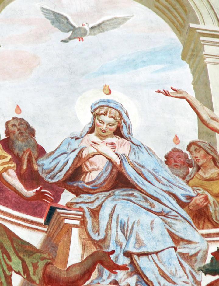Fresko des Pfingstereignisses im Würzburger Neumünster