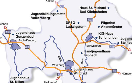 Karter der kirchlichen Jugendhäuser in der Diözese Würzburg