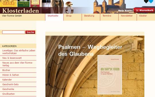 Screenshot vom Onlineshop des Klosterladens Münsterschwarzach