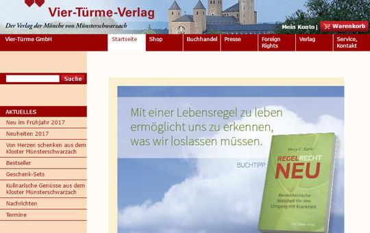 Screenshot vom Onlineshop des Vier-Türme-Verlags