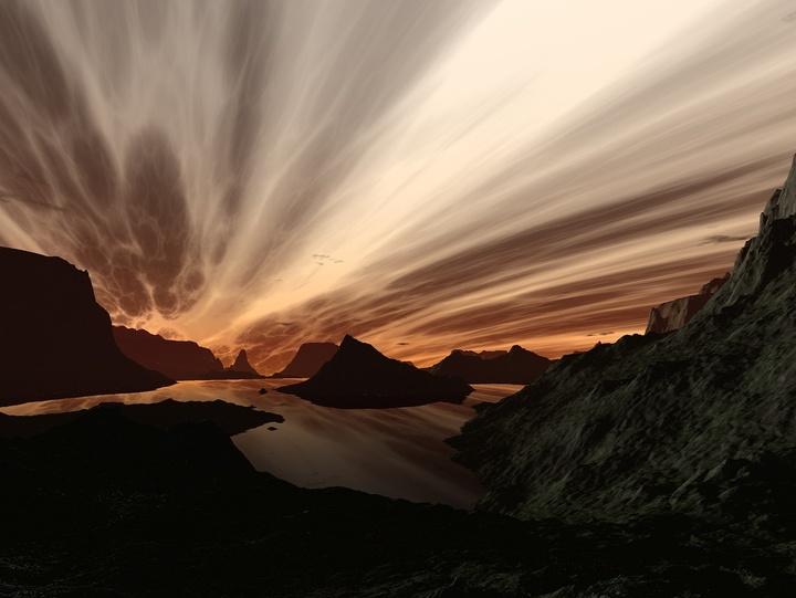 Sonnenaufgang über einem Fjord