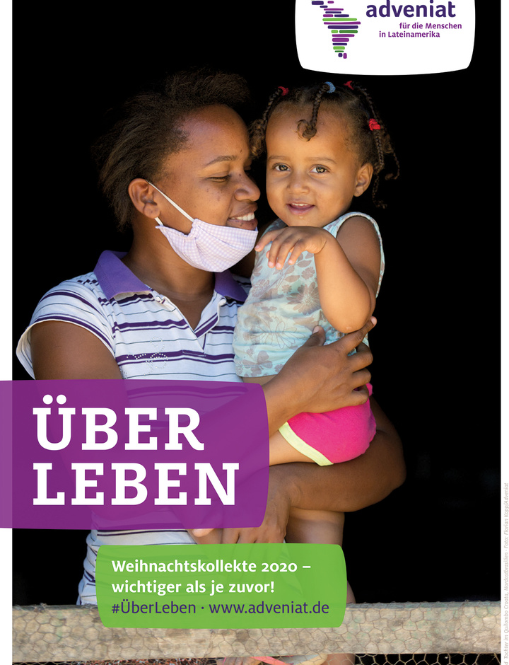 Plakat Adveniat Weihnachtsaktion 2020 - Frau mit Kleinkind