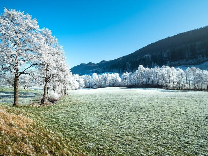 Naturschauspiel Frost und Sonne