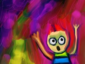 Schreiendes Kind als Comic-Art.