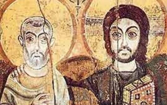 """Freundschaftsikone """"Christus und Abt Menas"""""""