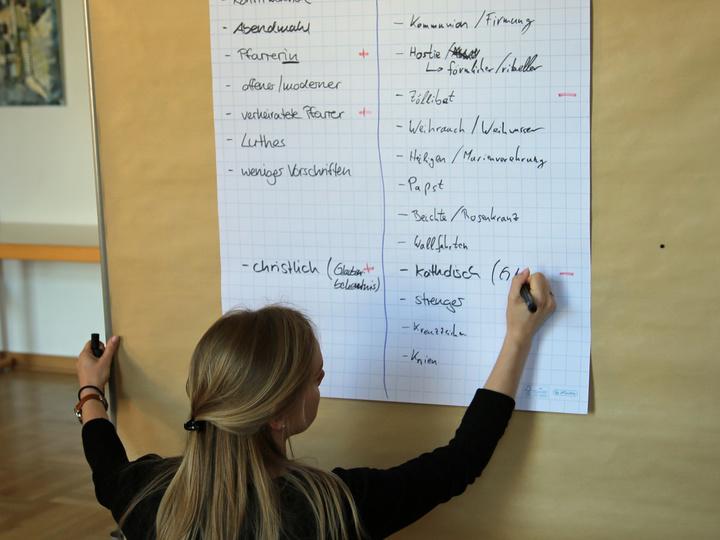 Aufgeteilt in zwei Gruppen überlegen sich die Paare, was typisch katholisch und typisch evangelisch ist. Svenja Barthel sammelt die Ideen der evangelischen Teilnehmer.
