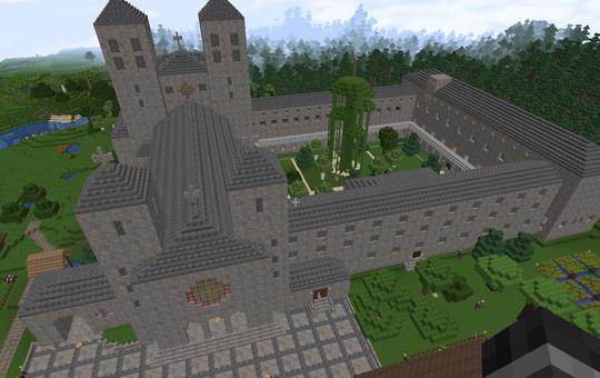 Abtei Münsterschwarzach bei Minecraft.