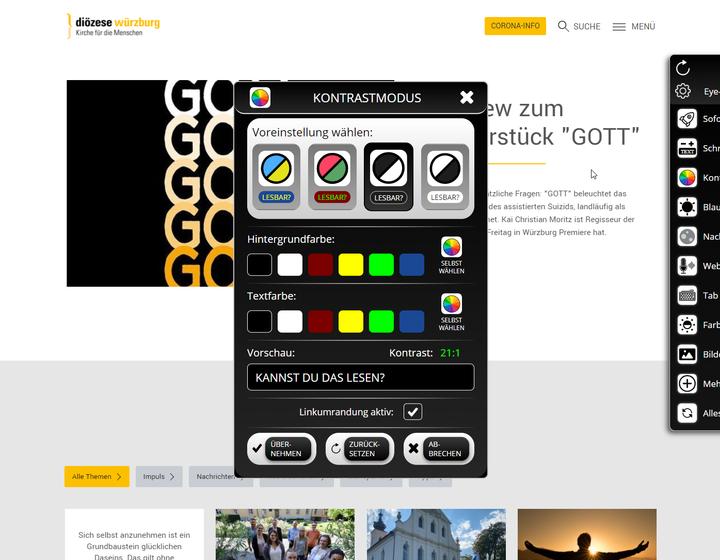 Screenshot der Software Eye-Able auf www.bistum-wuerzburg.de