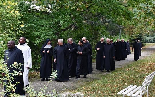 Mönche der Abtei Münsterschwarzach ziehen gemeinsam einen Weg entlang